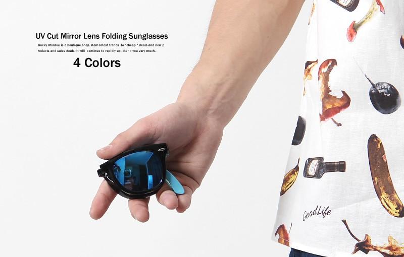 UVカット折りたたみフレームミラーレンズサングラス