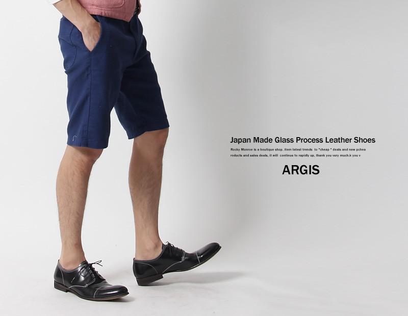 【ARGIS/アルジス】国産/日本製ガラス加工レザーレースアップシューズ