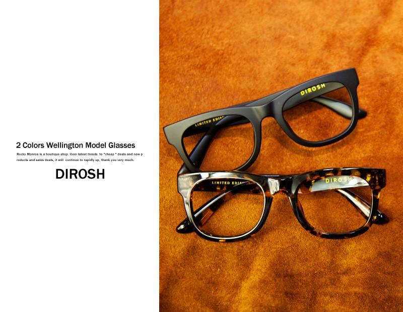【DIROSH/ディロッシュ】レンズハードケース付ウエリントン型伊達メガネ