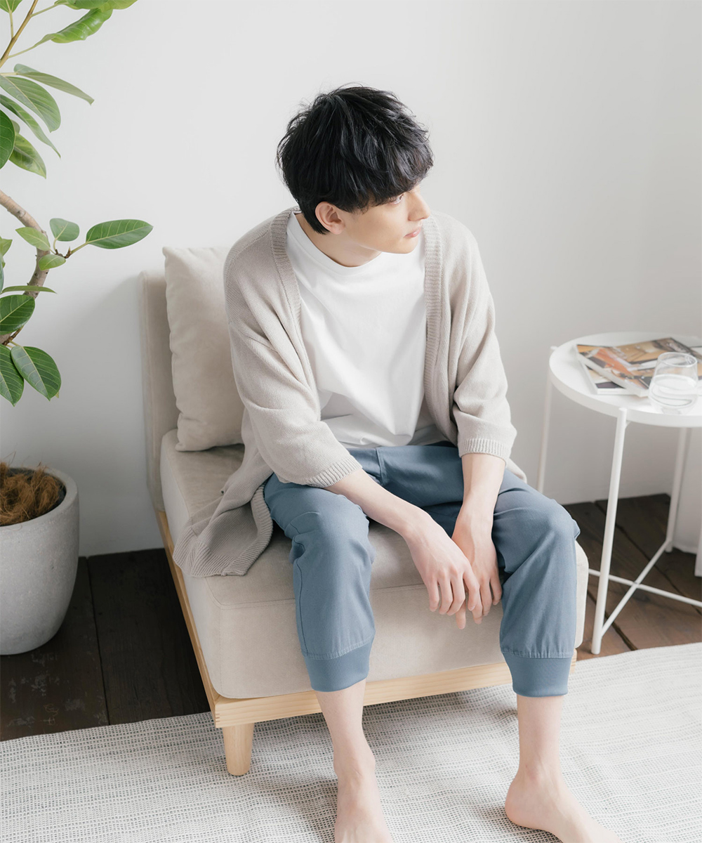 裾リブ綿麻サルエルジョガーパンツ/クロップドパンツ