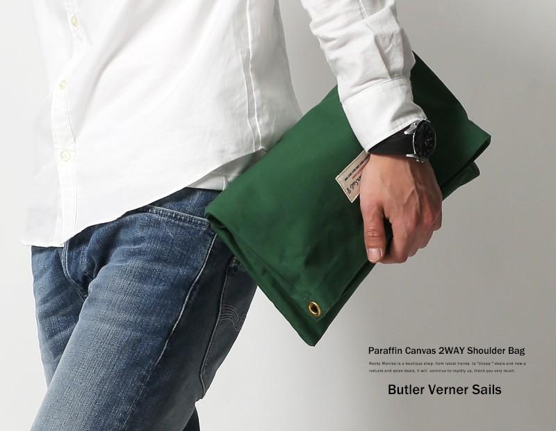 【Butler Verner Sails】日本製/国産2WAY10号パラフィンヌメ革ロープショルダークラッチバッグ