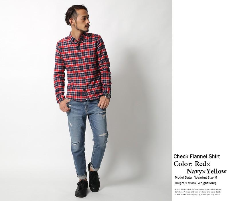 【RD.Ghost】国産/日本製チェック柄ボタンダウンネルシャツ