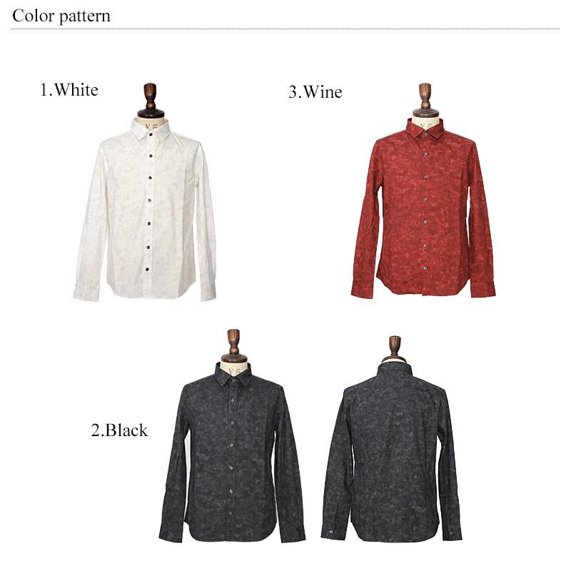 日本製/国産ブロード生地ムラ染長袖シャツ