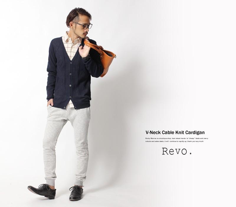 【Revo./レヴォ】ケーブルニットカーディガン