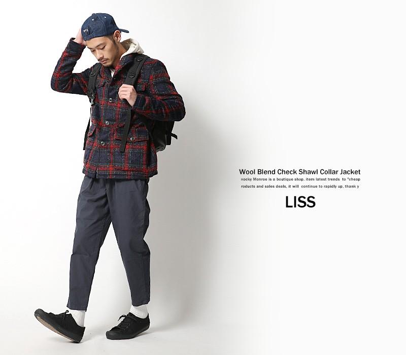 【LISS/リス】チェック柄ウールショールカラージャケット