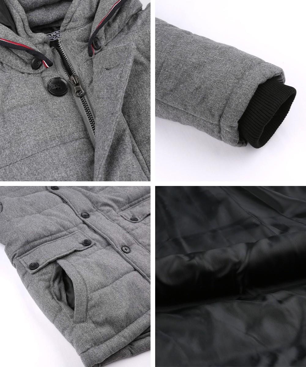 フード脱着撥水加工フェイクウール中綿ジャケット