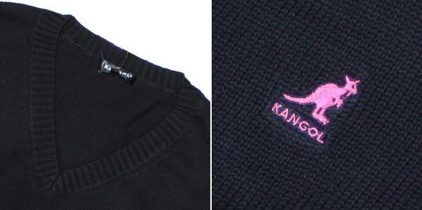 KANGOL(カンゴール)Vネックコットンニットセーター