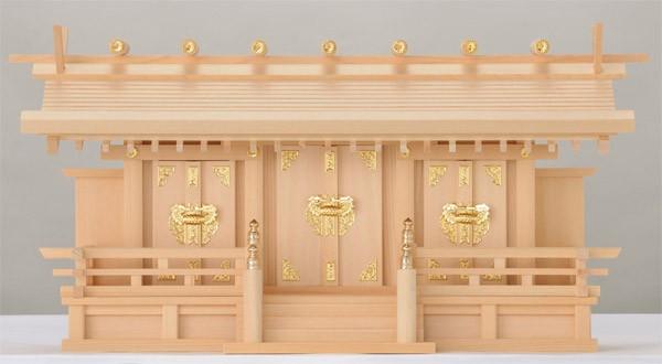 木曽ひのき低床通し屋根三社神棚月読金具扉日本製木曽檜製