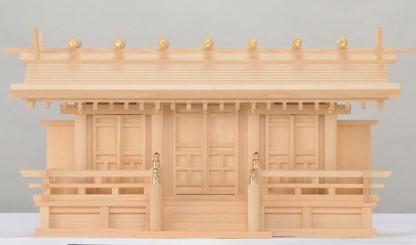 木曽ひのき低床通し屋根三社神棚月読唐戸扉日本製木曽檜製
