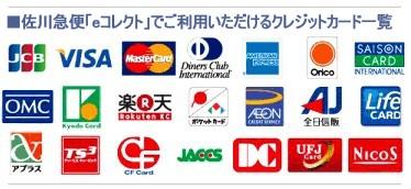 JCB VISA MasterCard DinersClub AmericanExpress Orico SAISON OMC Kyodo 楽天 ポケットカード AEON 全日信販 LifeCard アプラス TS3 CF JACCS DC UFJ NICOS