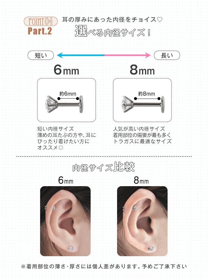 耳の厚みにあった内径をチョイス 選べる内径サイズ!内径サイズ比較
