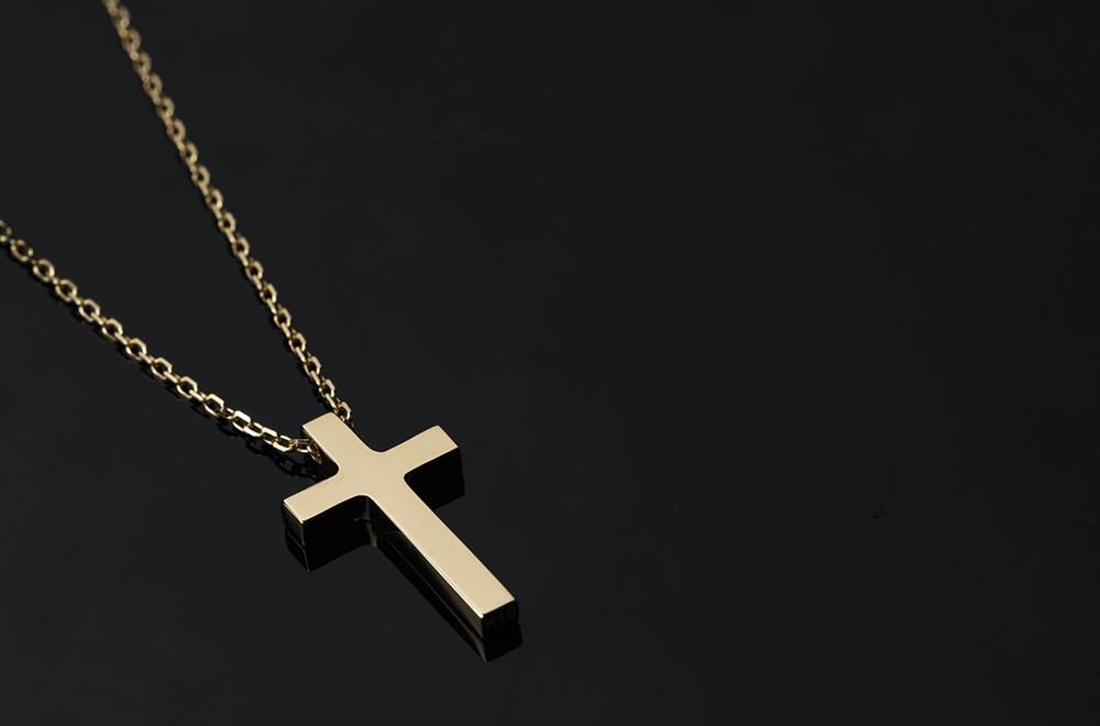 ネックレス メンズ クロス シンプル 18金 k18 18k ゴールド L-cross 十字架 プレート ペンダント  幸運 お守り ジュエリー