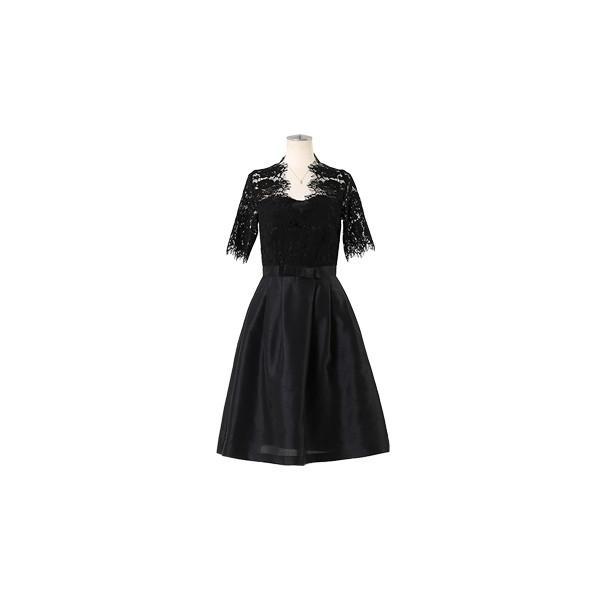 ドレス お呼ばれ 結婚式 ワンピース 袖あり 成人式 二次会 パーティ 大きいサイズ ブラック ひざ丈 ミモレ レース 20代 30代 40代 セール FD-052136|rs-gown|22