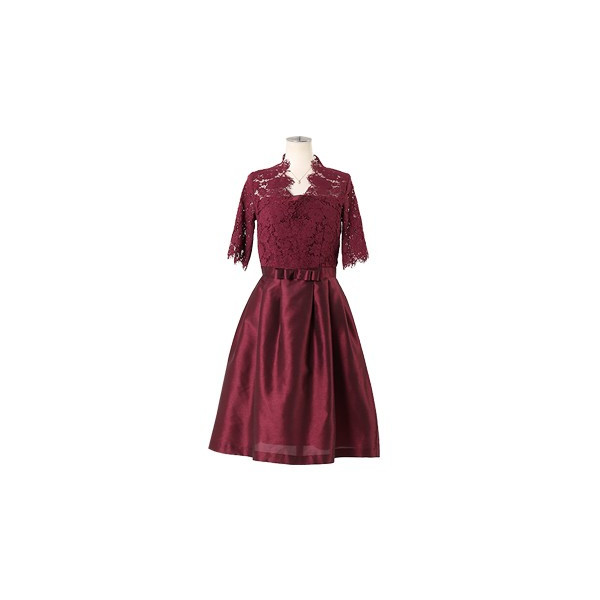 ドレス お呼ばれ 結婚式 ワンピース 袖あり 成人式 二次会 パーティ 大きいサイズ ブラック ひざ丈 ミモレ レース 20代 30代 40代 セール FD-052136|rs-gown|21