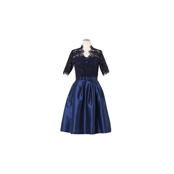 ドレス お呼ばれ 結婚式 ワンピース 袖あり 成人式 二次会 パーティ 大きいサイズ ブラック ひざ丈 ミモレ レース 20代 30代 40代 セール FD-052136|rs-gown|23