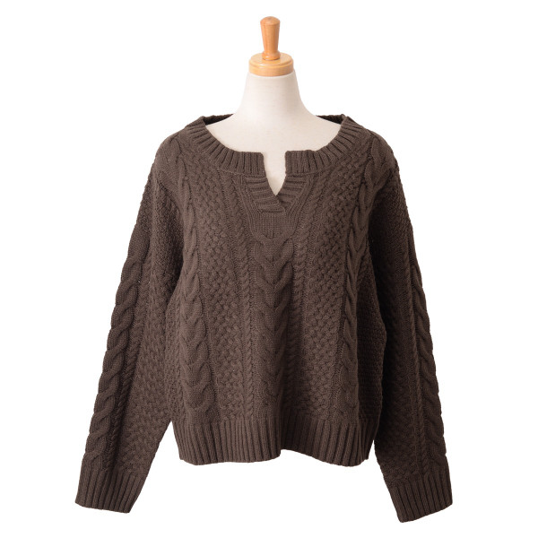 キーネックケーブル編みバルキーニット レディース トップス 長袖 ゆるニット ざっくり セーター|ruckruck|14