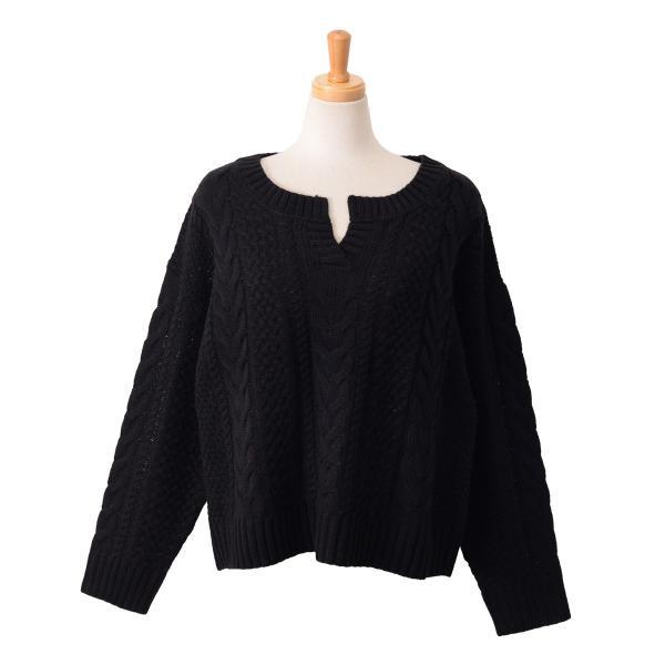 キーネックケーブル編みバルキーニット レディース トップス 長袖 ゆるニット ざっくり セーター|ruckruck|15