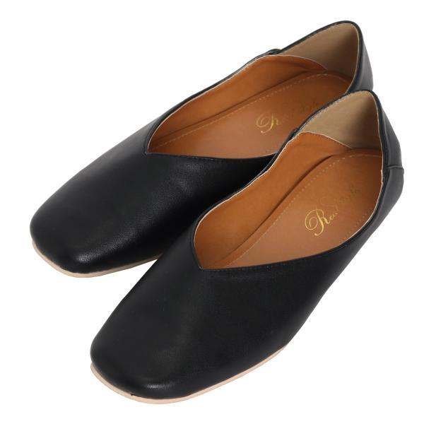 パンプス 痛くない ぺたんこ バブーシュ レディース フラットシューズ 靴 スクエアトゥ スウェード フェイクレザー 1912ss|ruckruck|17