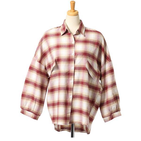 シャツ レディース トップス ブラウス 長袖 羽織り バルーンスリーブ ゆったり 大きめ カジュアル テールカット 秋冬|ruckruck|12