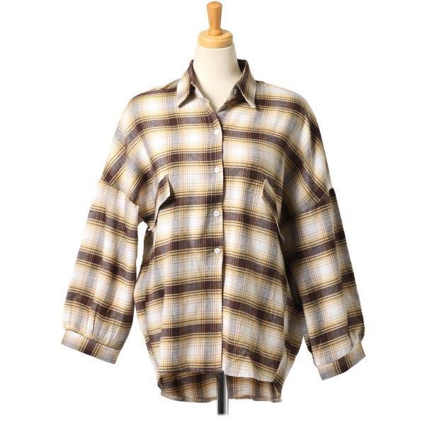 シャツ レディース トップス ブラウス 長袖 羽織り バルーンスリーブ ゆったり 大きめ カジュアル テールカット 秋冬|ruckruck|13