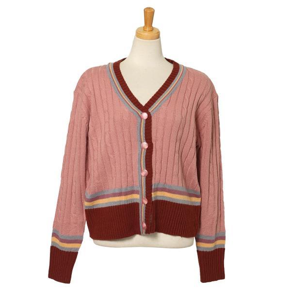 カーディガン レディース 羽織り 秋冬 セーター ケーブル編み 長袖 上着 アウター マルチカラー 配色 可愛い 暖か ruckruck 11
