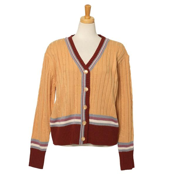 カーディガン レディース 羽織り 秋冬 セーター ケーブル編み 長袖 上着 アウター マルチカラー 配色 可愛い 暖か ruckruck 12