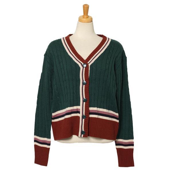 カーディガン レディース 羽織り 秋冬 セーター ケーブル編み 長袖 上着 アウター マルチカラー 配色 可愛い 暖か ruckruck 13