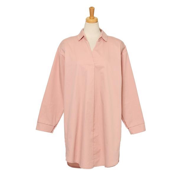 シャツ レディース 長袖 ロング丈 コットン 綿100% ワイド スキッパー ゆったり 大きいサイズ レイヤード 無地 カジュアル|ruckruck|14