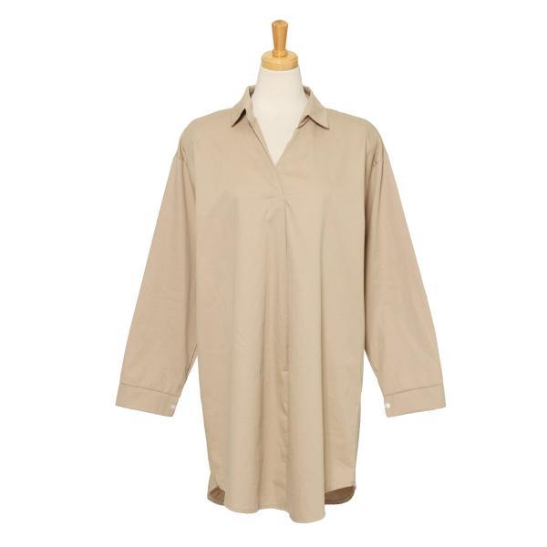 シャツ レディース 長袖 ロング丈 コットン 綿100% ワイド スキッパー ゆったり 大きいサイズ レイヤード 無地 カジュアル|ruckruck|15