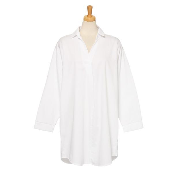 シャツ レディース 長袖 ロング丈 コットン 綿100% ワイド スキッパー ゆったり 大きいサイズ レイヤード 無地 カジュアル|ruckruck|16