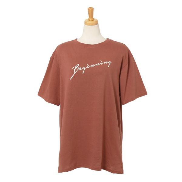 Tシャツ レディース カットソー 春 夏 半袖 ゆったり 大きめ 綿100% ロング ロゴ プリント カジュアル ビッグ 英字 手書き風 2006ss|ruckruck|18