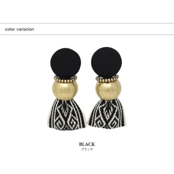 ピアス レディース ヴィンテージ風 リボン 大ぶり 刺繍 存在感 小顔効果 韓国アクセ カジュアル ブラック マルチ ブルー|rumsee|09