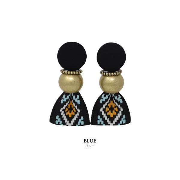 ピアス レディース ヴィンテージ風 リボン 大ぶり 刺繍 存在感 小顔効果 韓国アクセ カジュアル ブラック マルチ ブルー|rumsee|11