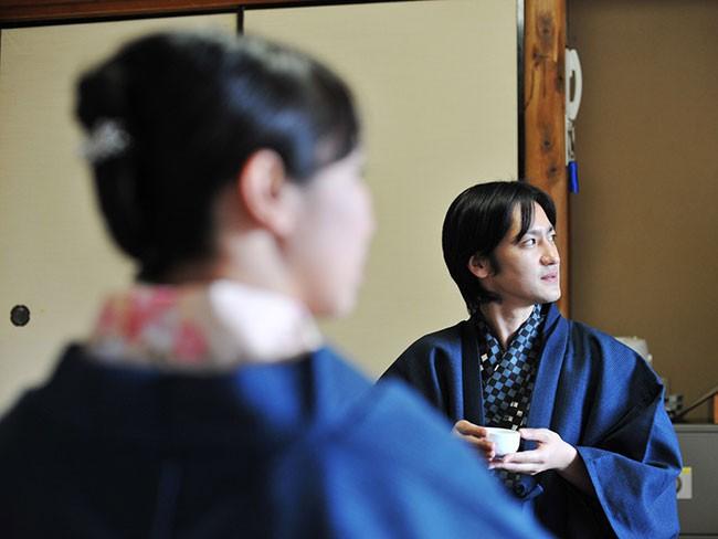 業務用 日本製 茶羽織半天 着たところ