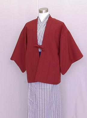 業務用 日本製 茶羽織半天 エンジ 白紺浴衣