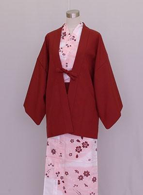 業務用 日本製 茶羽織半天 エンジ カラー浴衣