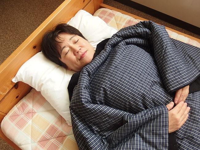 日本製 綿入り丹前 寝たところ