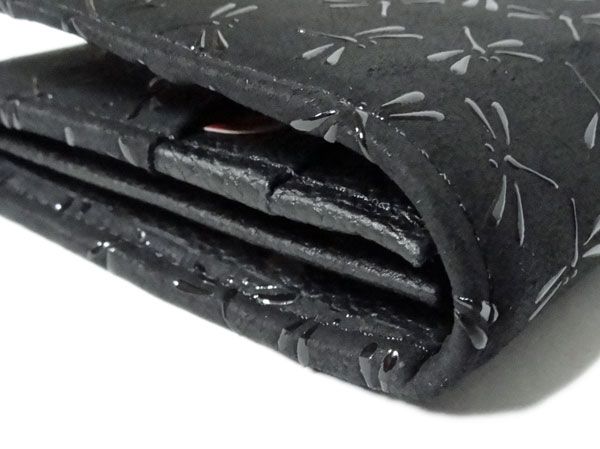 印傳屋 印伝 長財布 黒×黒 トンボ