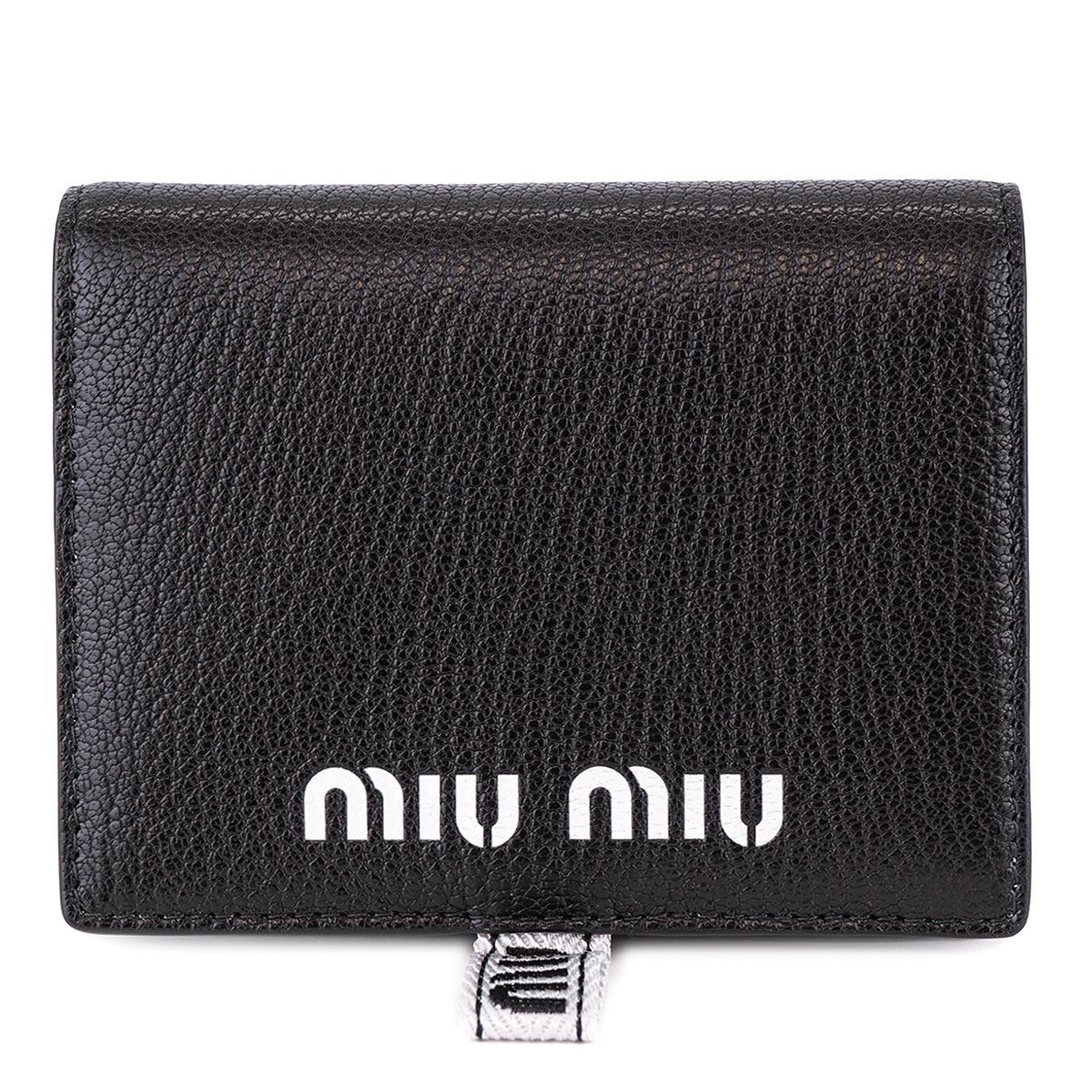 on sale cfc98 d1cde MIUMIU ミュウミュウ 二つ折り財布 BLACK 5MV2042B64 MADRAS ...