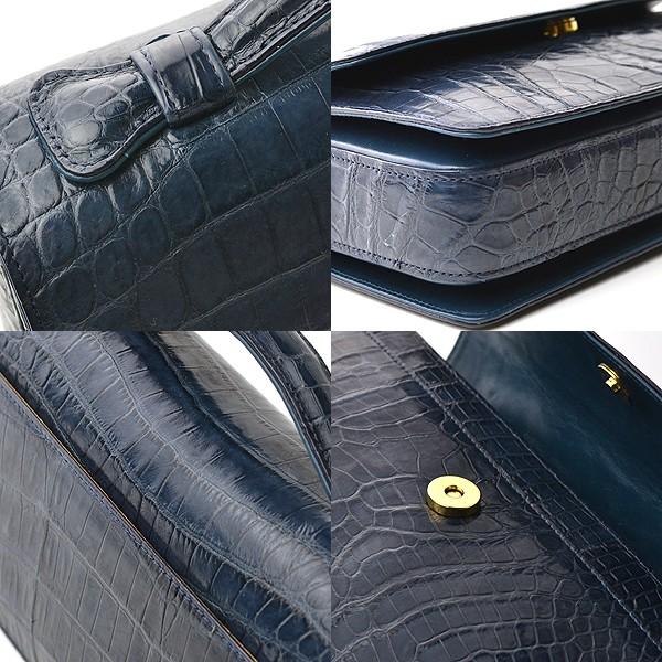 セカンドバッグ かぶせ 限定カラー ネイビー メンズ 最高級国産レザー クロコダイル 鰐 イメージ写真06