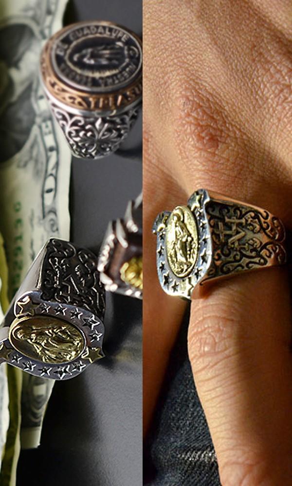 カレッジリング メンズ 真鍮 マリアモチーフ シルバー925 指輪 イメージ写真02