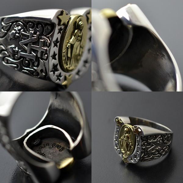 カレッジリング メンズ 真鍮 マリアモチーフ シルバー925 指輪 イメージ写真04