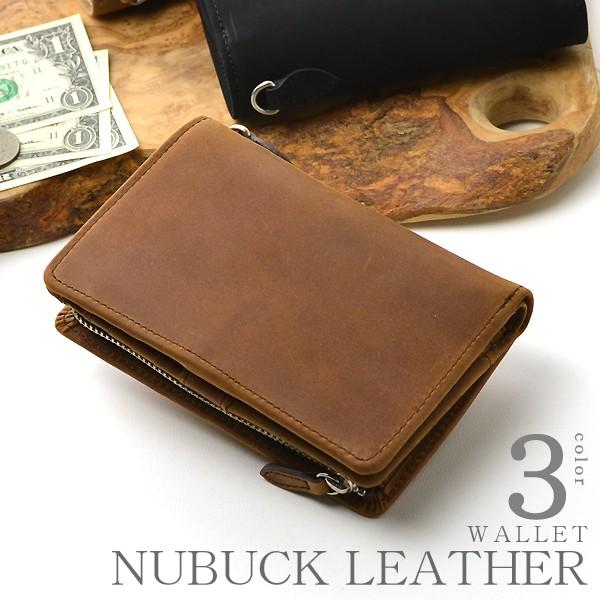 afc1bdf57868 ラウンド二つ折り財布 メンズ レディース アメリカ製ヌバックレザー 牛革 ミドルウォレット イメージ写真01