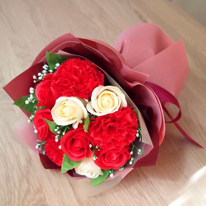 母の日2021 ソープフラワー花束 ブーケ 母の日 プレゼント 花 造花 枯れない ギフト アレンジメント カーネーション フラワーソープ 日時指定OK saika 21