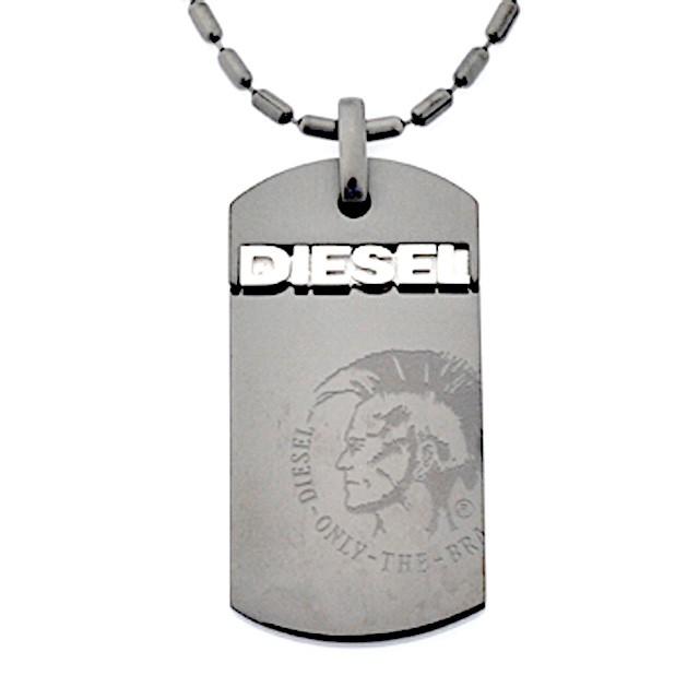 ディーゼル DIESEL ネックレス ペンダント DIESELロゴ ドッグタグプレートにブレイブマンの刻印 ブラックプレート dx0004040