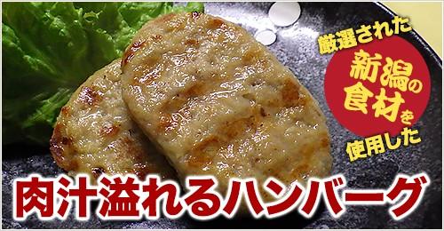厳選された新潟の食材を使用した肉汁溢れるハンバーグ