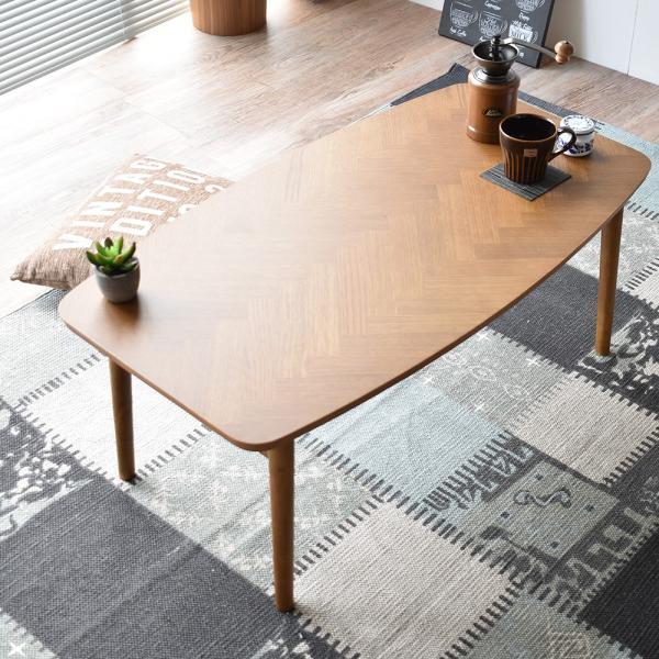 こたつ おしゃれ 90 cm 長方形 折れ脚 天然木 北欧 コンパクト 省スペース こたつテーブル 折れ足 木製 ヴィンテージ ウレタン塗装 一人暮らし ヘリンボーン