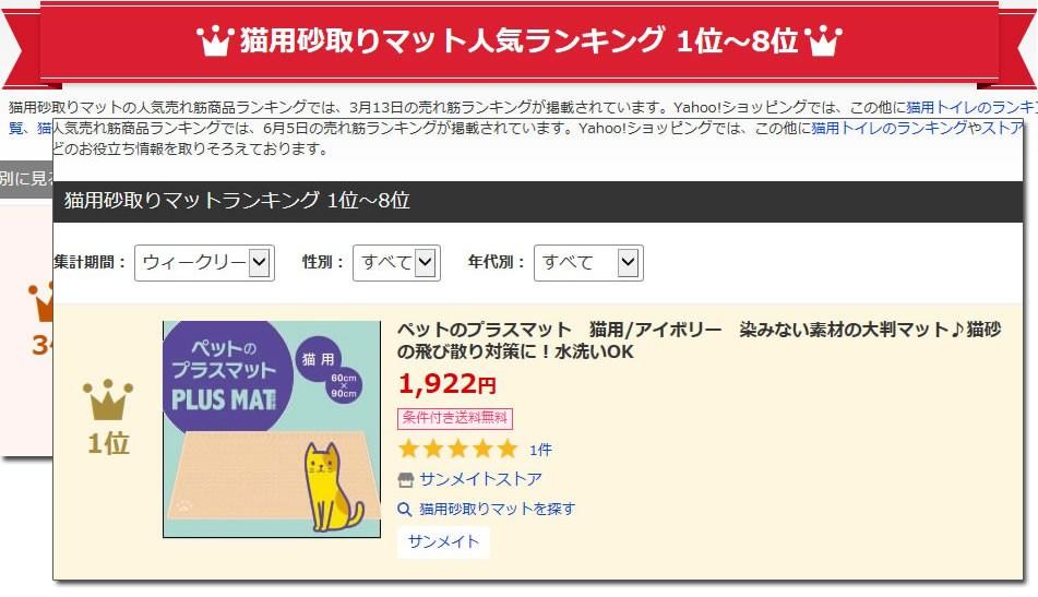猫砂飛び散り防止グッズとしても使える「ペットのプラスマット」がランキング3位に入りました