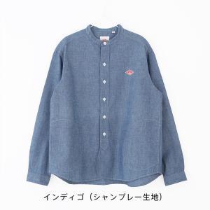 (2021春夏) ダントン DANTON 長袖バンドカラー ポケット付きシャツ #JD-3606 YOX・COC 無地 ホワイト 白 スタンドカラー 2021SS サンテラボ