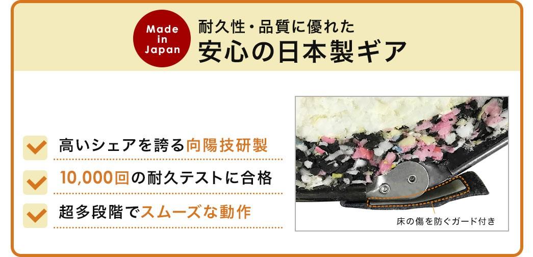 耐久性・品質に優れた安心の日本製ギア